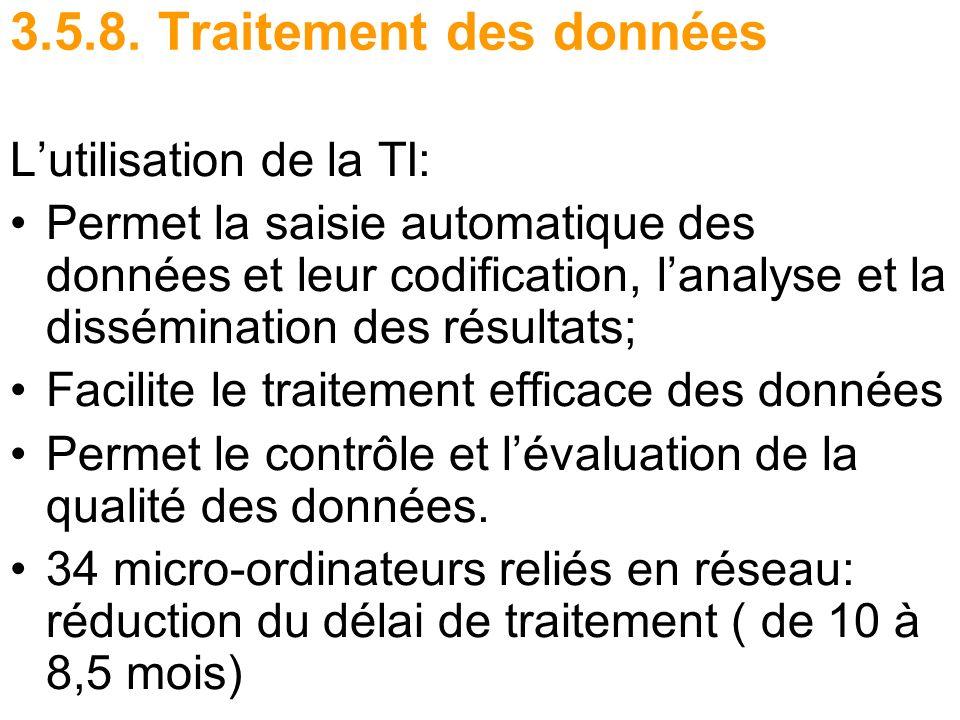 3.5.8. Traitement des données Lutilisation de la TI: Permet la saisie automatique des données et leur codification, lanalyse et la dissémination des r