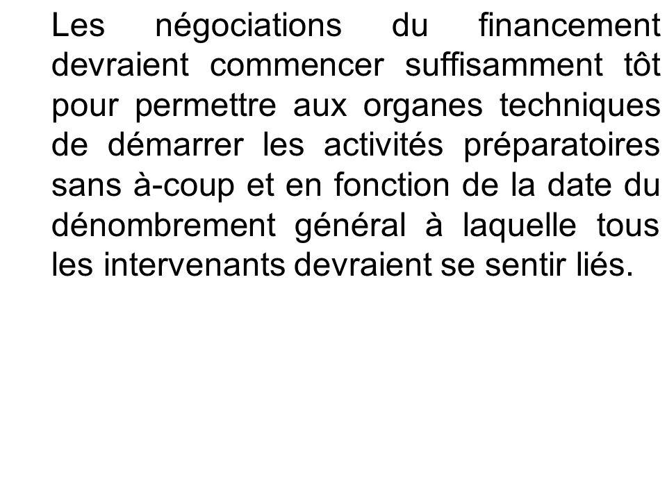 Les négociations du financement devraient commencer suffisamment tôt pour permettre aux organes techniques de démarrer les activités préparatoires san