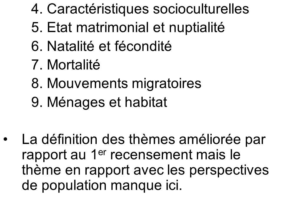4. Caractéristiques socioculturelles 5. Etat matrimonial et nuptialité 6. Natalité et fécondité 7. Mortalité 8. Mouvements migratoires 9. Ménages et h