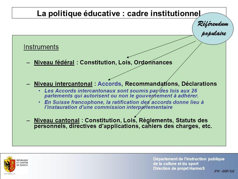 Département de l'instruction publique de la culture et du sport Direction de projet HarmoS La politique éducative : cadre institutionnel Instruments –