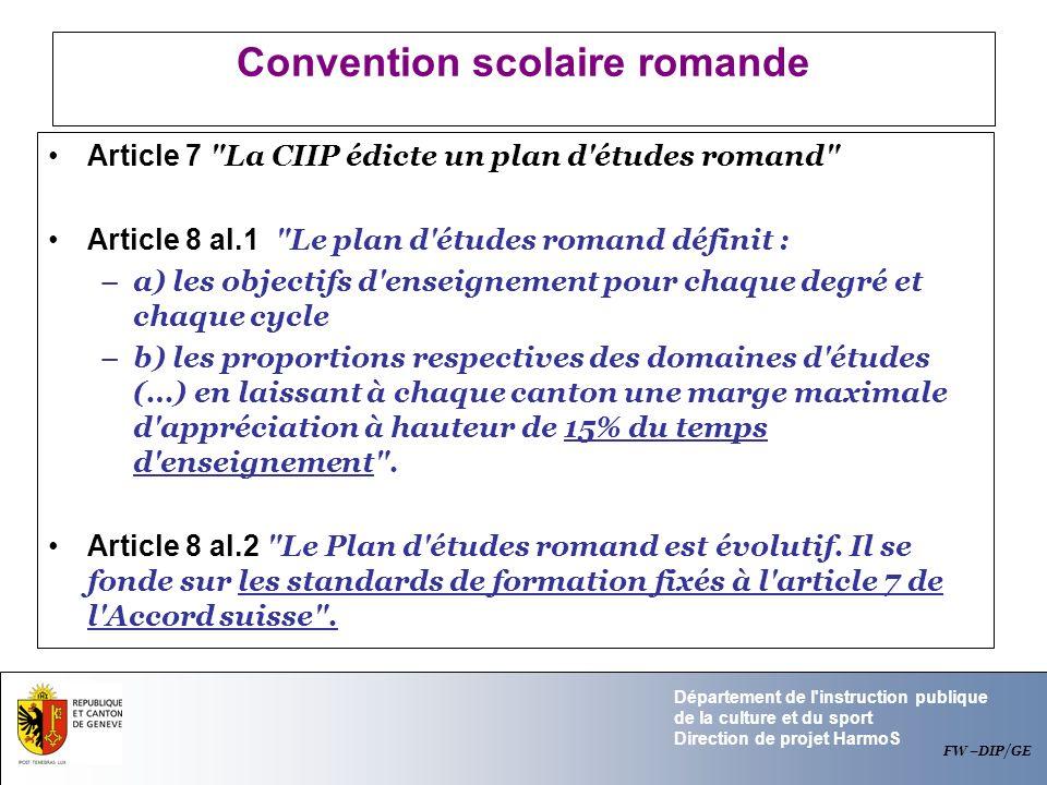 Département de l'instruction publique de la culture et du sport Direction de projet HarmoS Convention scolaire romande Article 7