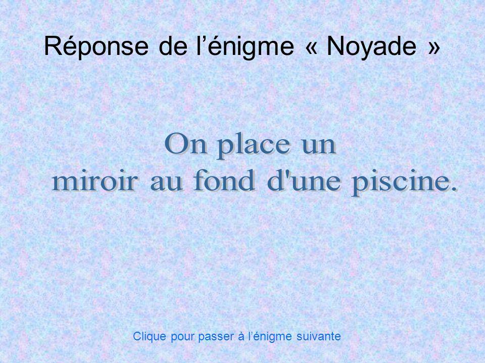 Réponse de lénigme « Noyade » Clique pour passer à lénigme suivante