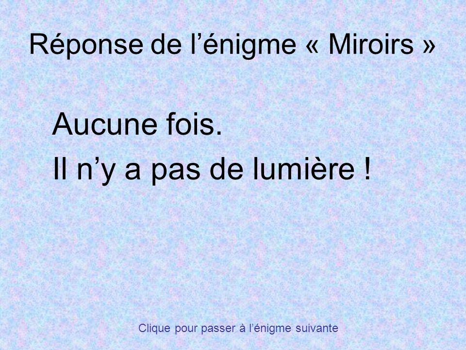 Réponse de lénigme « Miroirs » Aucune fois. Il ny a pas de lumière ! Clique pour passer à lénigme suivante