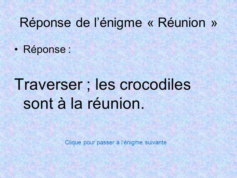 Réponse de lénigme « Réunion » Réponse : Traverser ; les crocodiles sont à la réunion. Clique pour passer à lénigme suivante