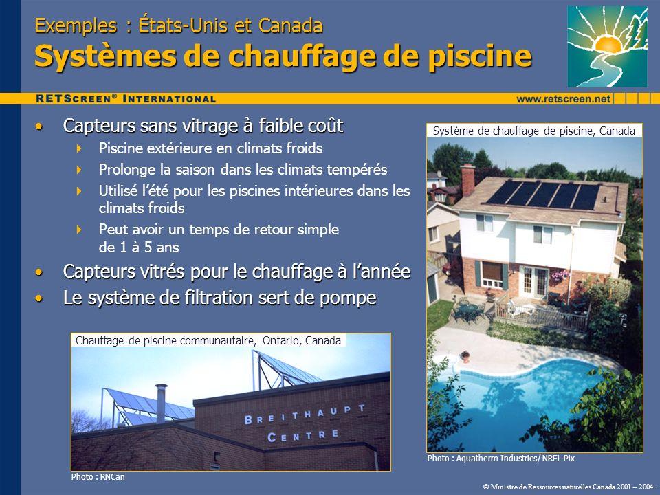 © Ministre de Ressources naturelles Canada 2001 – 2004. Exemples : États-Unis et Canada Systèmes de chauffage de piscine Capteurs sans vitrage à faibl