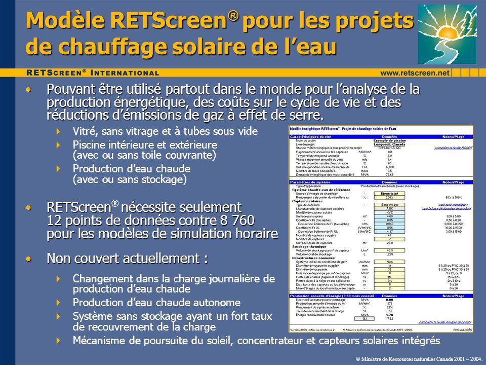 © Ministre de Ressources naturelles Canada 2001 – 2004. Modèle RETScreen ® pour les projets de chauffage solaire de leau Pouvant être utilisé partout