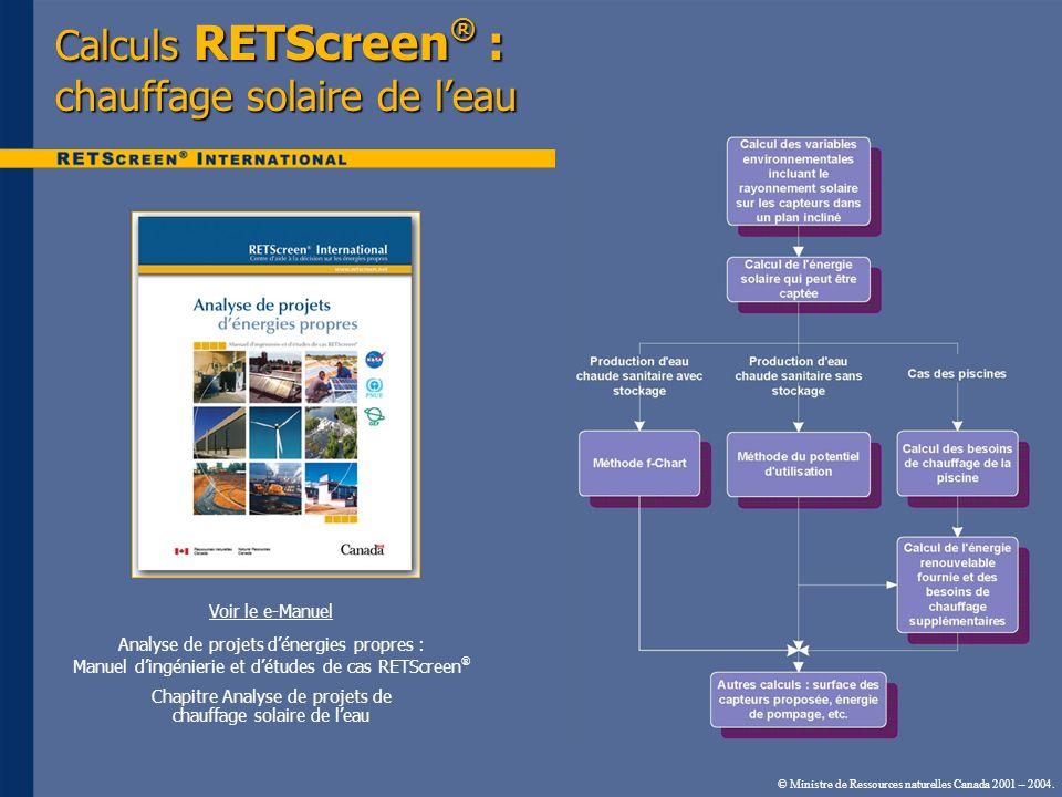 © Ministre de Ressources naturelles Canada 2001 – 2004. Calculs RETScreen ® : chauffage solaire de leau Voir le e-Manuel Analyse de projets dénergies