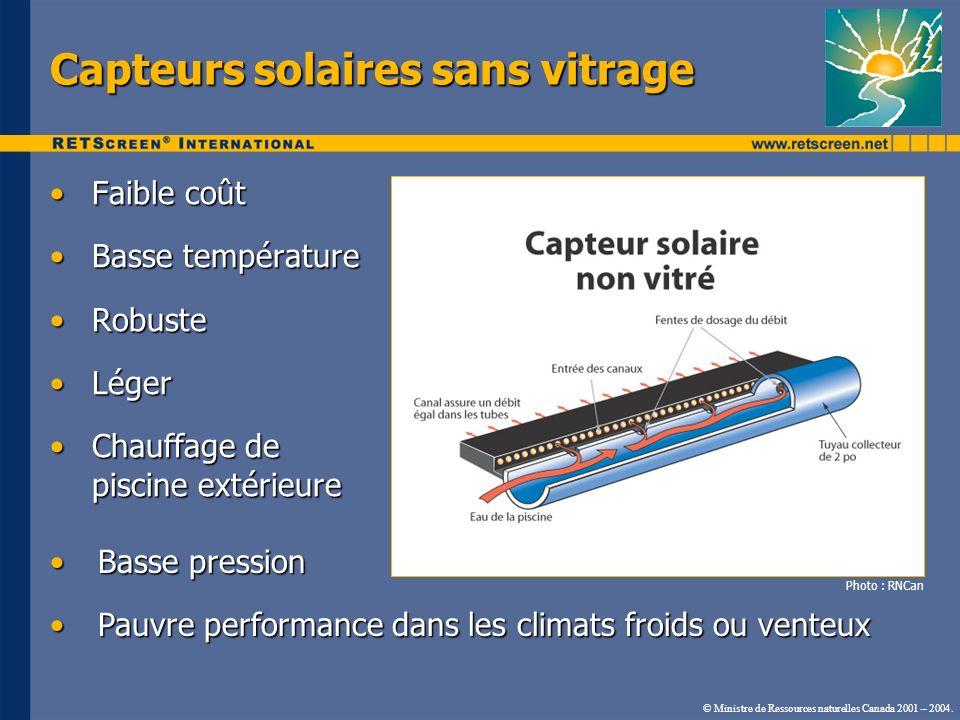 © Ministre de Ressources naturelles Canada 2001 – 2004. Capteurs solaires sans vitrage Faible coûtFaible coût Basse températureBasse température Robus