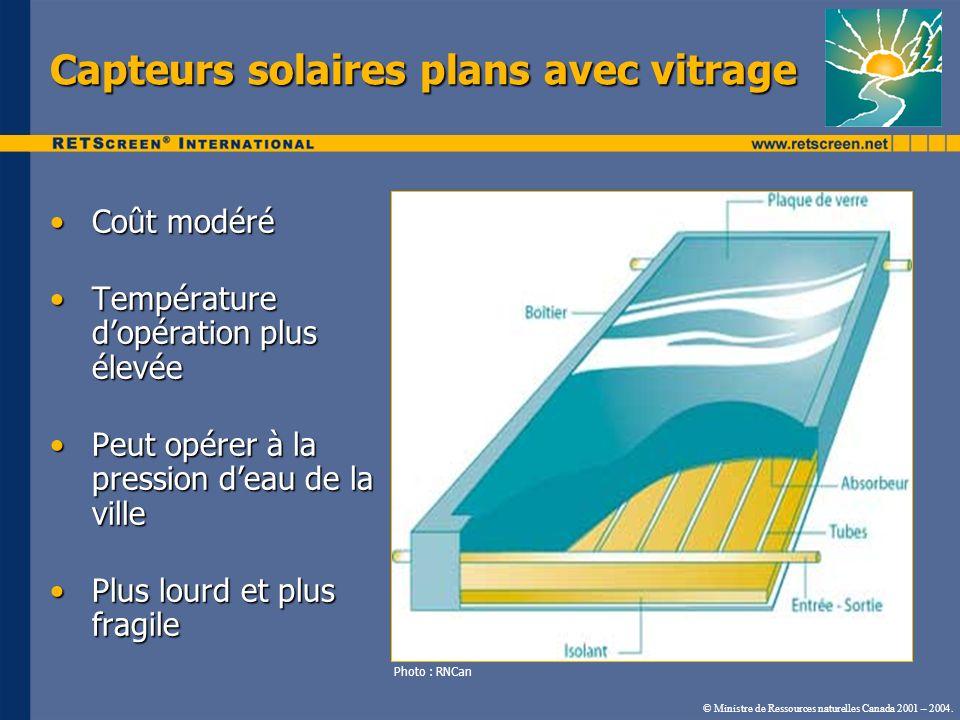 © Ministre de Ressources naturelles Canada 2001 – 2004. Capteurs solaires plans avec vitrage Coût modéréCoût modéré Température dopération plus élevée