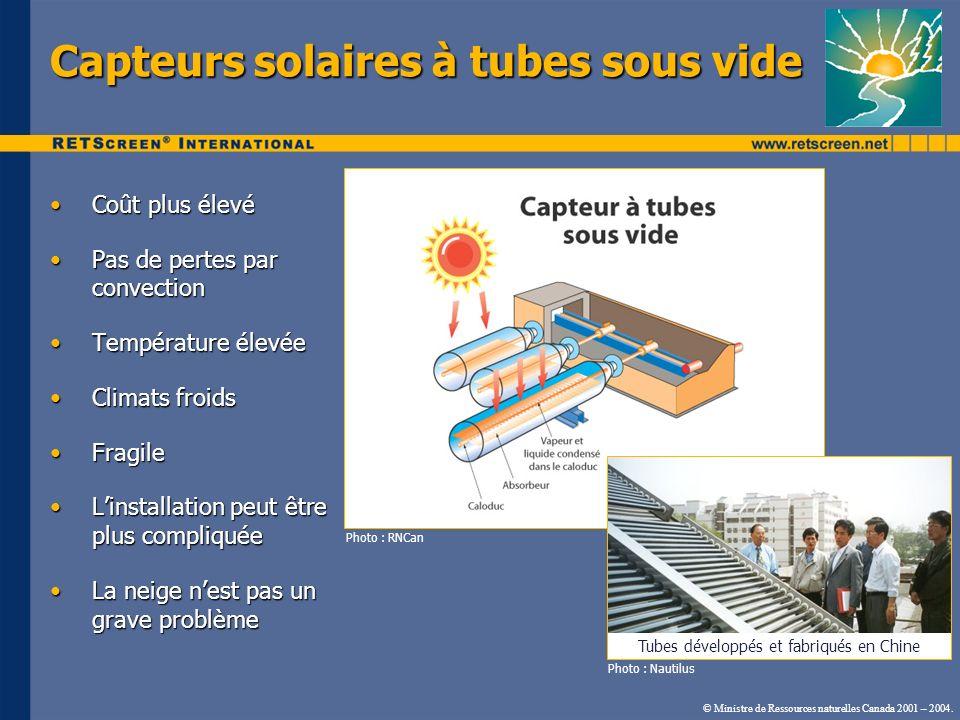 © Ministre de Ressources naturelles Canada 2001 – 2004. Capteurs solaires à tubes sous vide Coût plus élevéCoût plus élevé Pas de pertes par convectio