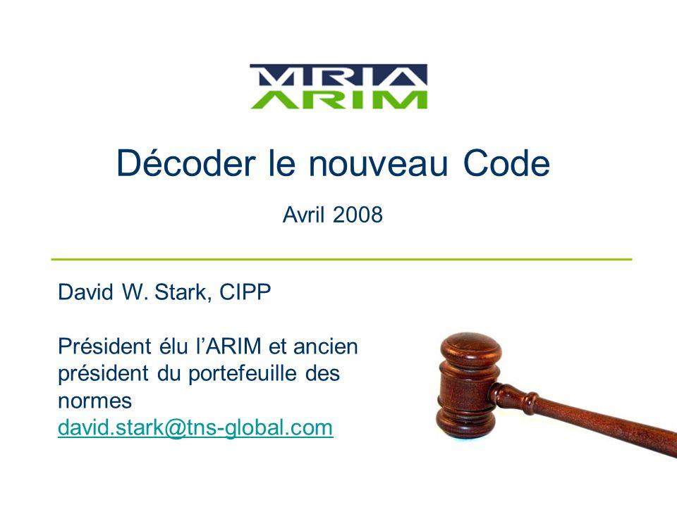 Décoder le nouveau Code Avril 2008 David W.