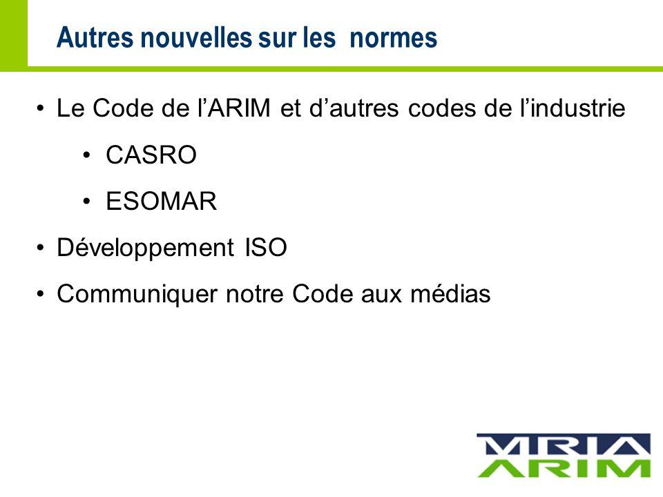 Autres nouvelles sur les normes Le Code de lARIM et dautres codes de lindustrie CASRO ESOMAR Développement ISO Communiquer notre Code aux médias