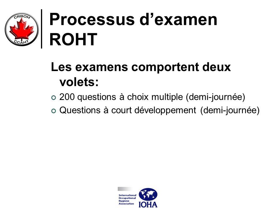 Processus dexamen ROHT Les examens comportent deux volets: 200 questions à choix multiple (demi-journée) Questions à court développement (demi-journée