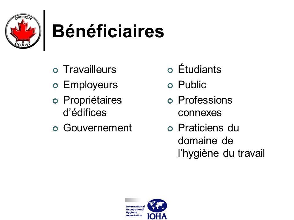 Bénéficiaires Travailleurs Employeurs Propriétaires dédifices Gouvernement Étudiants Public Professions connexes Praticiens du domaine de lhygiène du