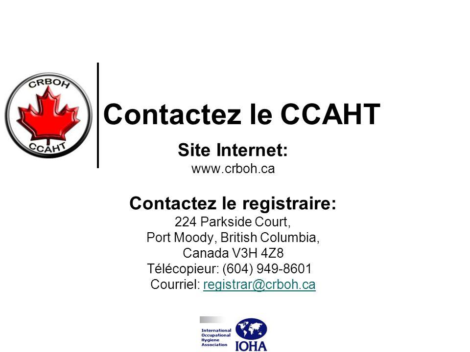 Site Internet: www.crboh.ca Contactez le registraire: 224 Parkside Court, Port Moody, British Columbia, Canada V3H 4Z8 Télécopieur: (604) 949-8601 Cou