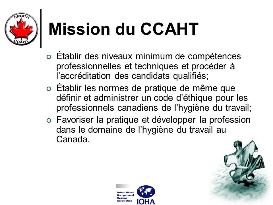 Mission du CCAHT Établir des niveaux minimum de compétences professionnelles et techniques et procéder à laccréditation des candidats qualifiés; Établ