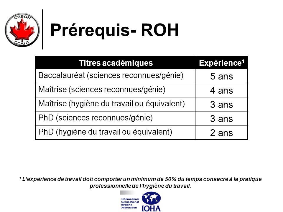 Prérequis- ROH Titres académiquesExpérience 1 Baccalauréat (sciences reconnues/génie) 5 ans Maîtrise (sciences reconnues/génie) 4 ans Maîtrise (hygièn