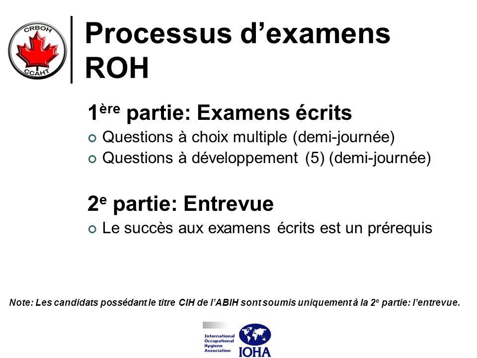 Processus dexamens ROH 1 ère partie: Examens écrits Questions à choix multiple (demi-journée) Questions à développement (5) (demi-journée) 2 e partie: