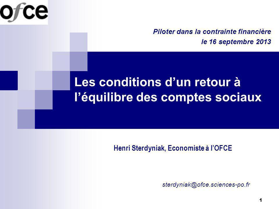 1 Les conditions dun retour à léquilibre des comptes sociaux Henri Sterdyniak, Economiste à lOFCE Piloter dans la contrainte financière le 16 septembr