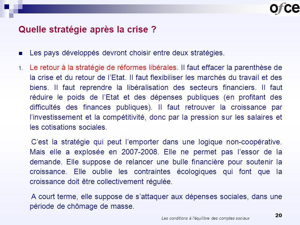 20 Quelle stratégie après la crise ? Les pays développés devront choisir entre deux stratégies. 1. Le retour à la stratégie de réformes libérales. Il