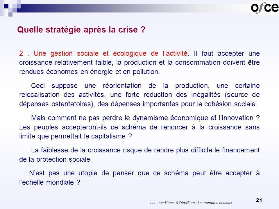 21 Quelle stratégie après la crise ? 2. Une gestion sociale et écologique de lactivité. Il faut accepter une croissance relativement faible, la produc