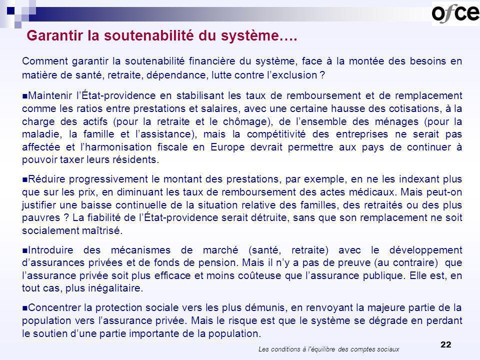 22 Garantir la soutenabilité du système…. Comment garantir la soutenabilité financière du système, face à la montée des besoins en matière de santé, r