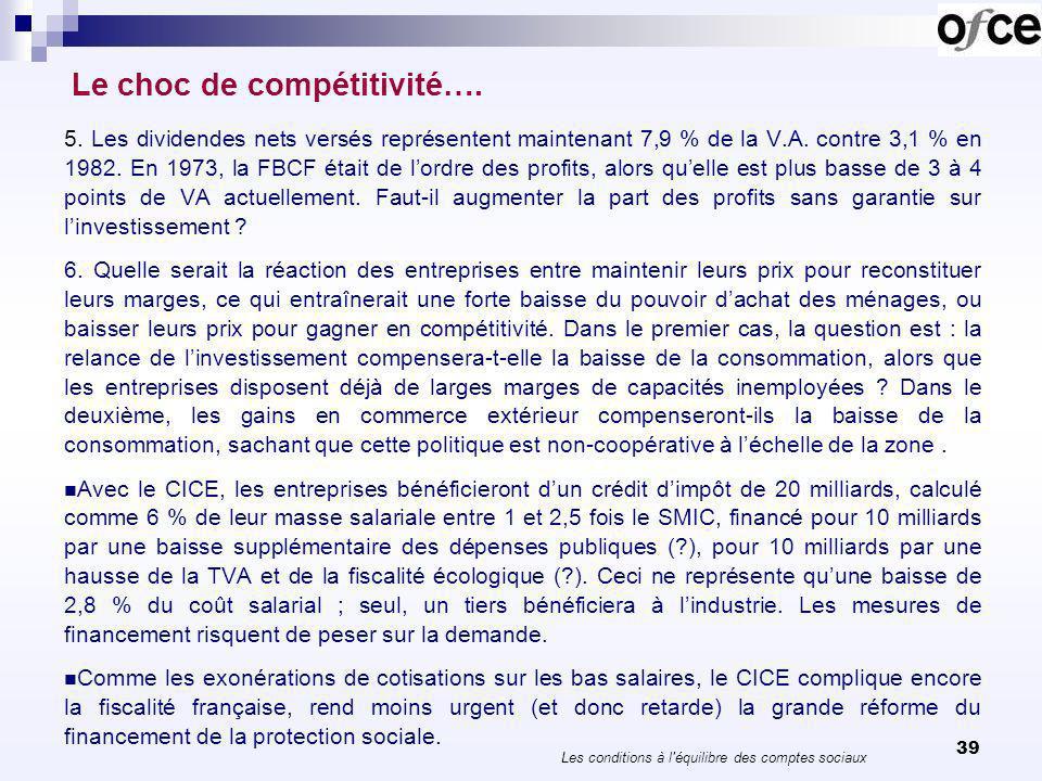 39 Le choc de compétitivité…. 5. Les dividendes nets versés représentent maintenant 7,9 % de la V.A. contre 3,1 % en 1982. En 1973, la FBCF était de l