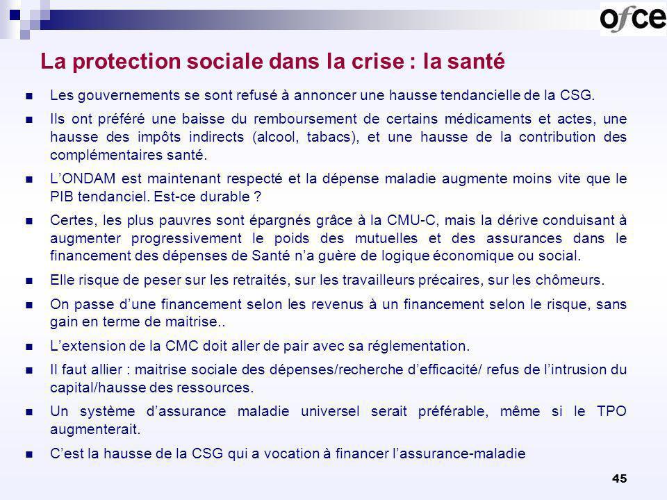 45 La protection sociale dans la crise : la santé Les gouvernements se sont refusé à annoncer une hausse tendancielle de la CSG. Ils ont préféré une b