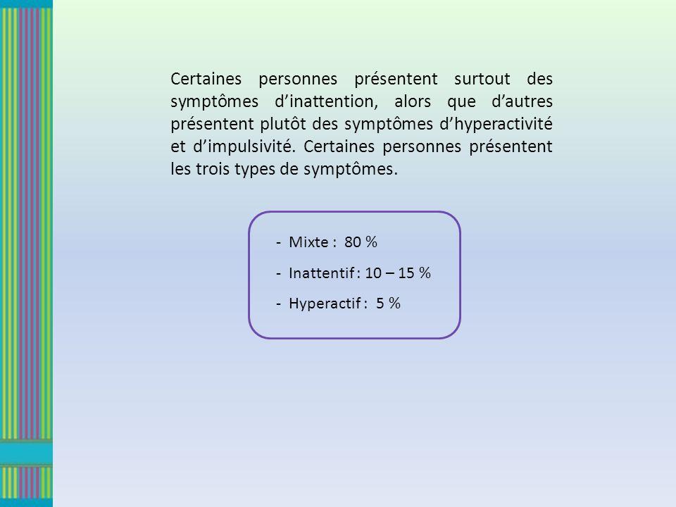 Certaines personnes présentent surtout des symptômes dinattention, alors que dautres présentent plutôt des symptômes dhyperactivité et dimpulsivité. C
