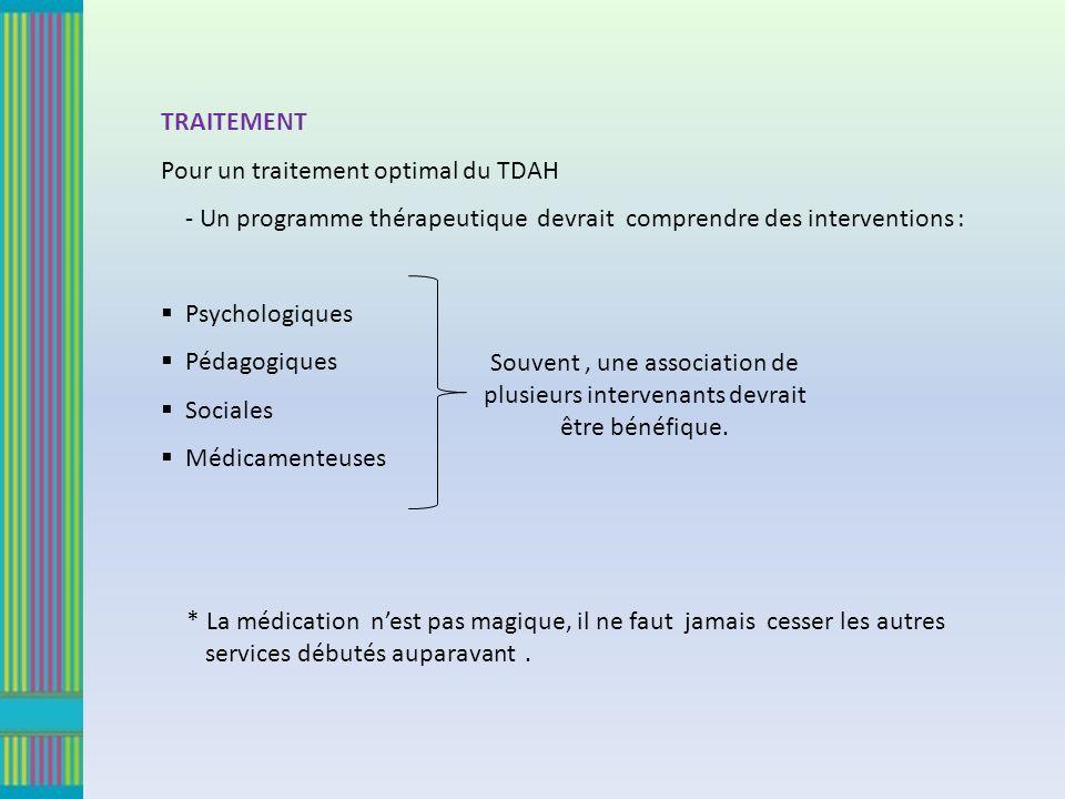 TRAITEMENT Pour un traitement optimal du TDAH - Un programme thérapeutique devrait comprendre des interventions : Psychologiques Pédagogiques Sociales Médicamenteuses Souvent, une association de plusieurs intervenants devrait être bénéfique.