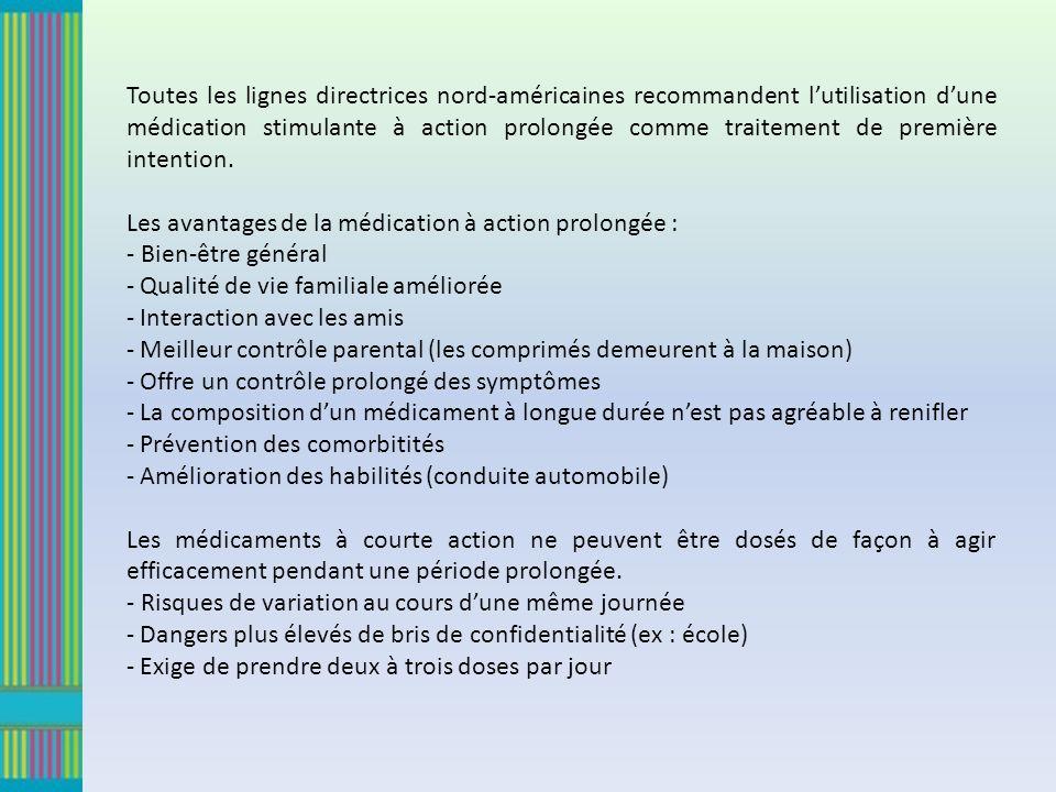 Toutes les lignes directrices nord-américaines recommandent lutilisation dune médication stimulante à action prolongée comme traitement de première intention.