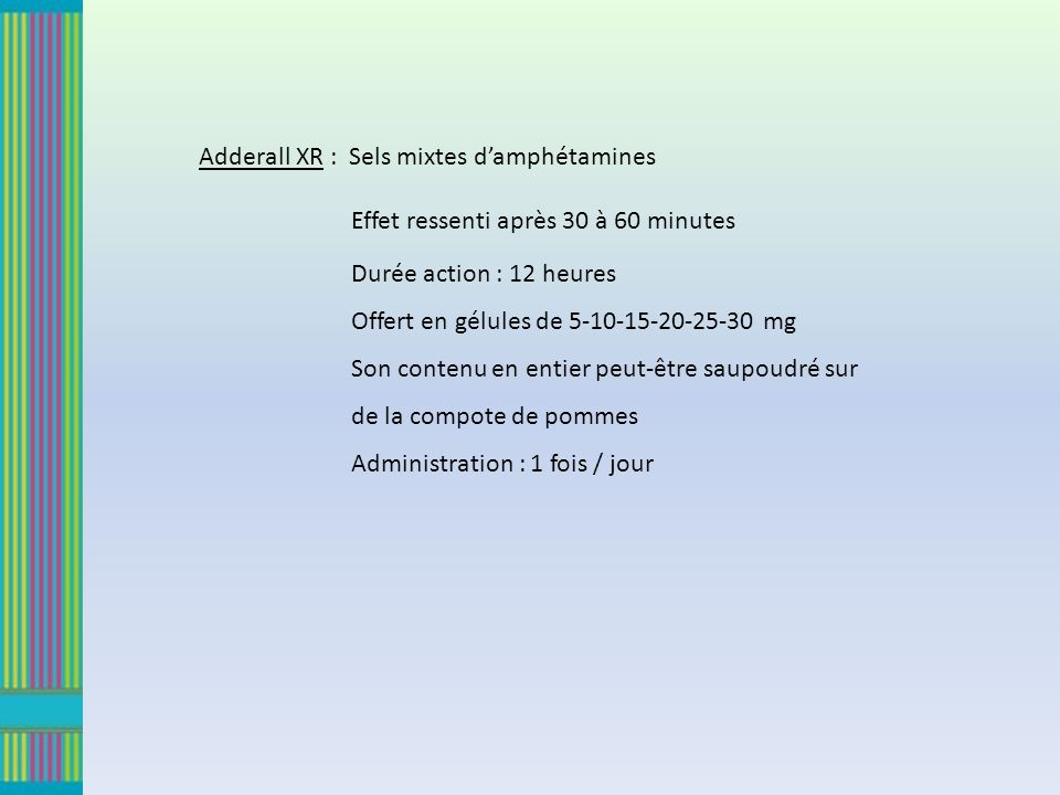 Adderall XR : Sels mixtes damphétamines Effet ressenti après 30 à 60 minutes Durée action : 12 heures Offert en gélules de 5-10-15-20-25-30 mg Son con