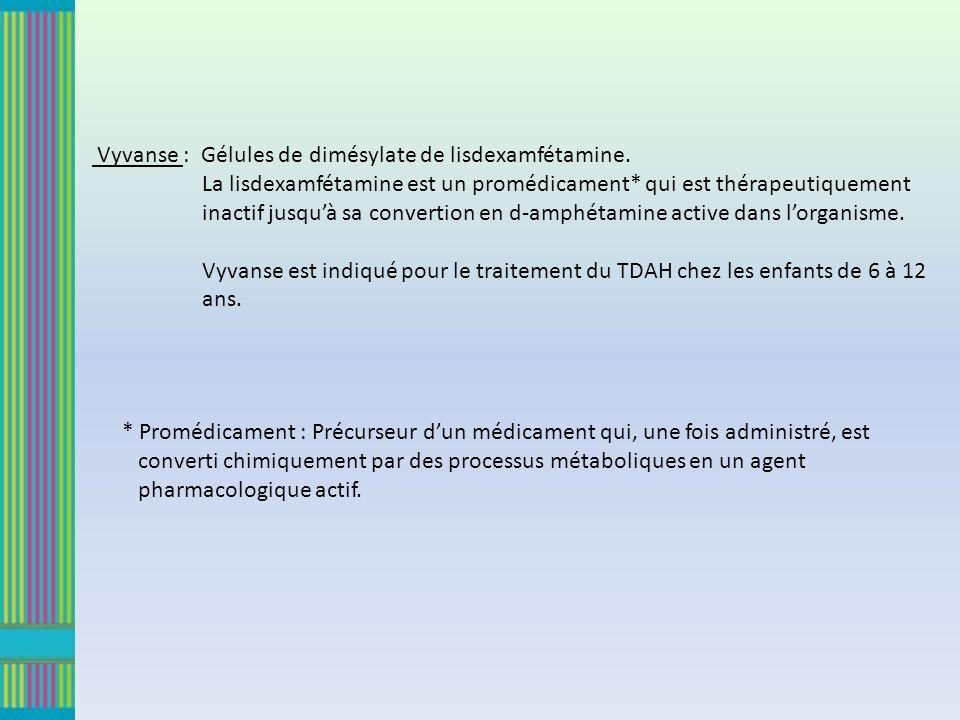 Vyvanse : Gélules de dimésylate de lisdexamfétamine. La lisdexamfétamine est un promédicament* qui est thérapeutiquement inactif jusquà sa convertion