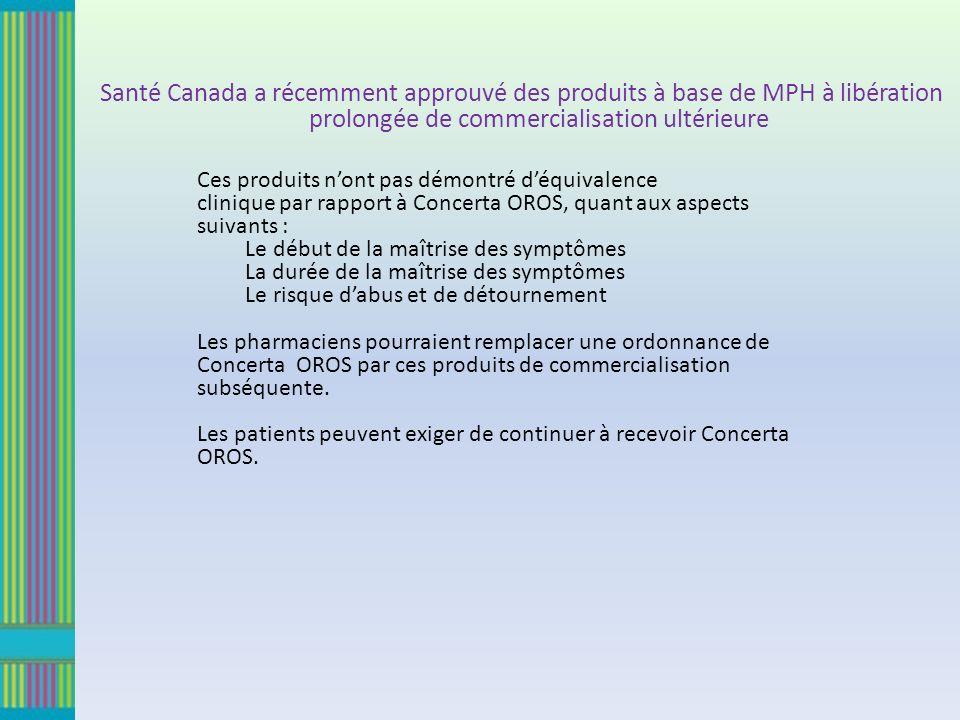 Ces produits nont pas démontré déquivalence clinique par rapport à Concerta OROS, quant aux aspects suivants : Le début de la maîtrise des symptômes L