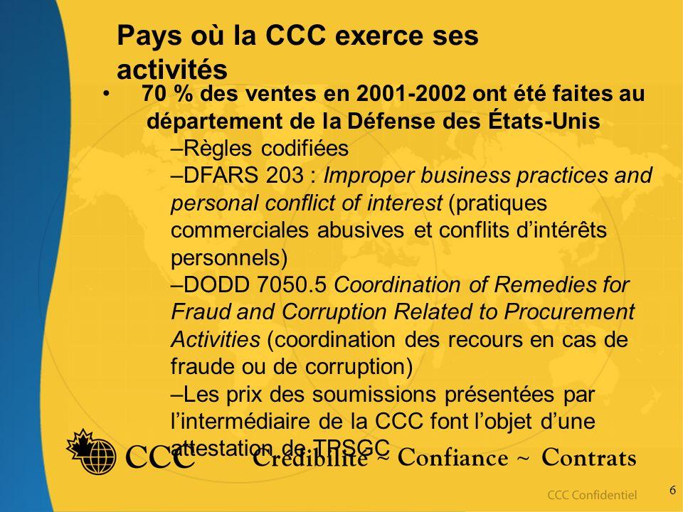 6 Pays où la CCC exerce ses activités 70 % des ventes en 2001-2002 ont été faites au département de la Défense des États-Unis –Règles codifiées –DFARS