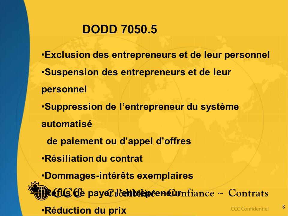 8 DODD 7050.5 Exclusion des entrepreneurs et de leur personnel Suspension des entrepreneurs et de leur personnel Suppression de lentrepreneur du systè
