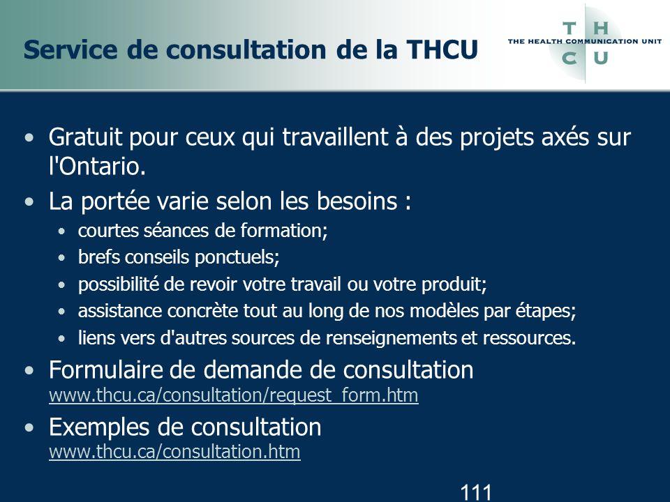 Service de consultation de la THCU Gratuit pour ceux qui travaillent à des projets axés sur l Ontario.