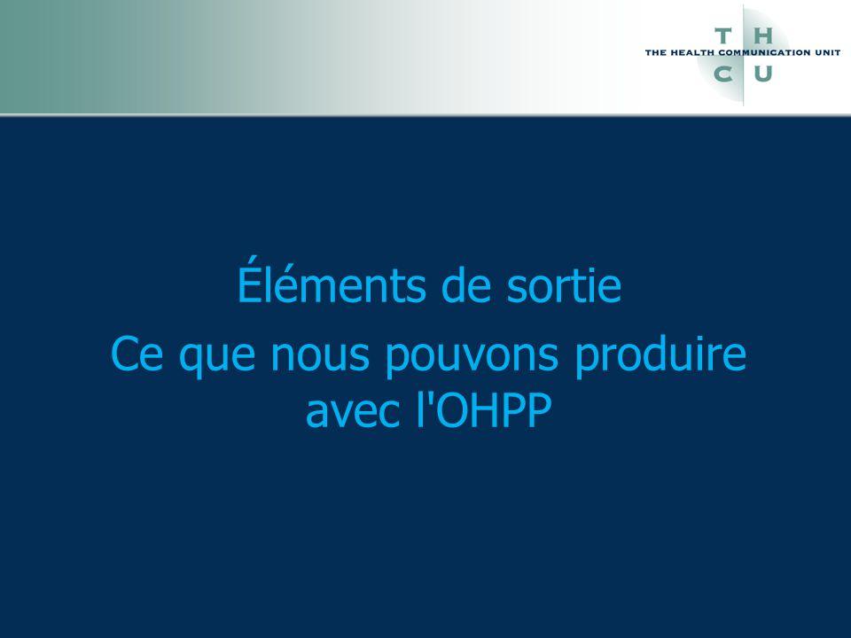 Éléments de sortie Ce que nous pouvons produire avec l OHPP