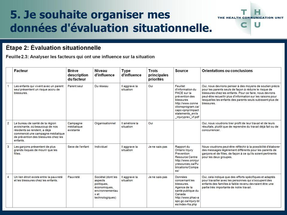 5. Je souhaite organiser mes données d évaluation situationnelle.