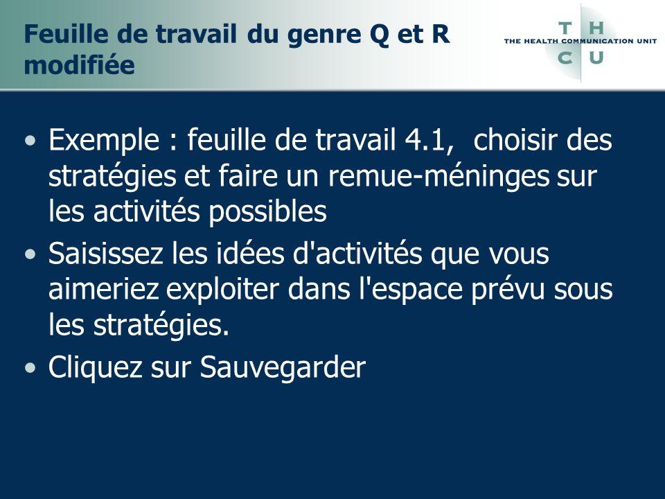 Feuille de travail du genre Q et R modifiée Exemple : feuille de travail 4.1, choisir des stratégies et faire un remue-méninges sur les activités possibles Saisissez les idées d activités que vous aimeriez exploiter dans l espace prévu sous les stratégies.
