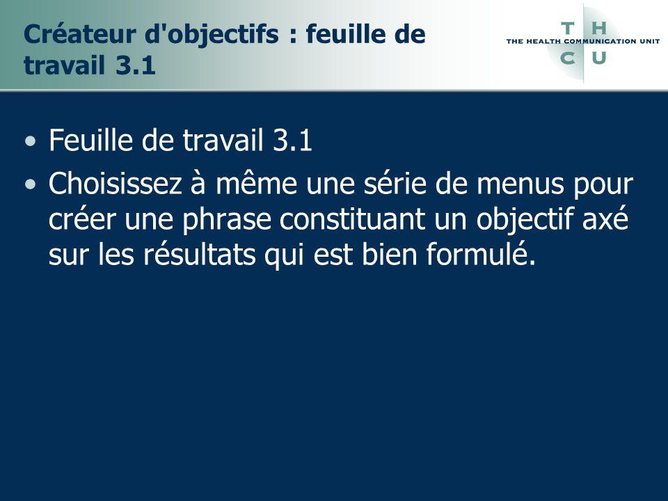 Créateur d objectifs : feuille de travail 3.1 Feuille de travail 3.1 Choisissez à même une série de menus pour créer une phrase constituant un objectif axé sur les résultats qui est bien formulé.