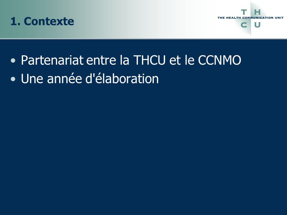 1. Contexte Partenariat entre la THCU et le CCNMO Une année d élaboration