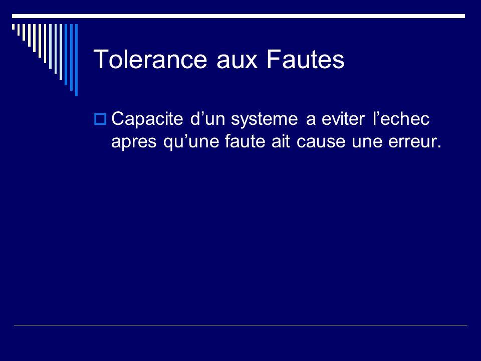 Tolerance aux Fautes Capacite dun systeme a eviter lechec apres quune faute ait cause une erreur.