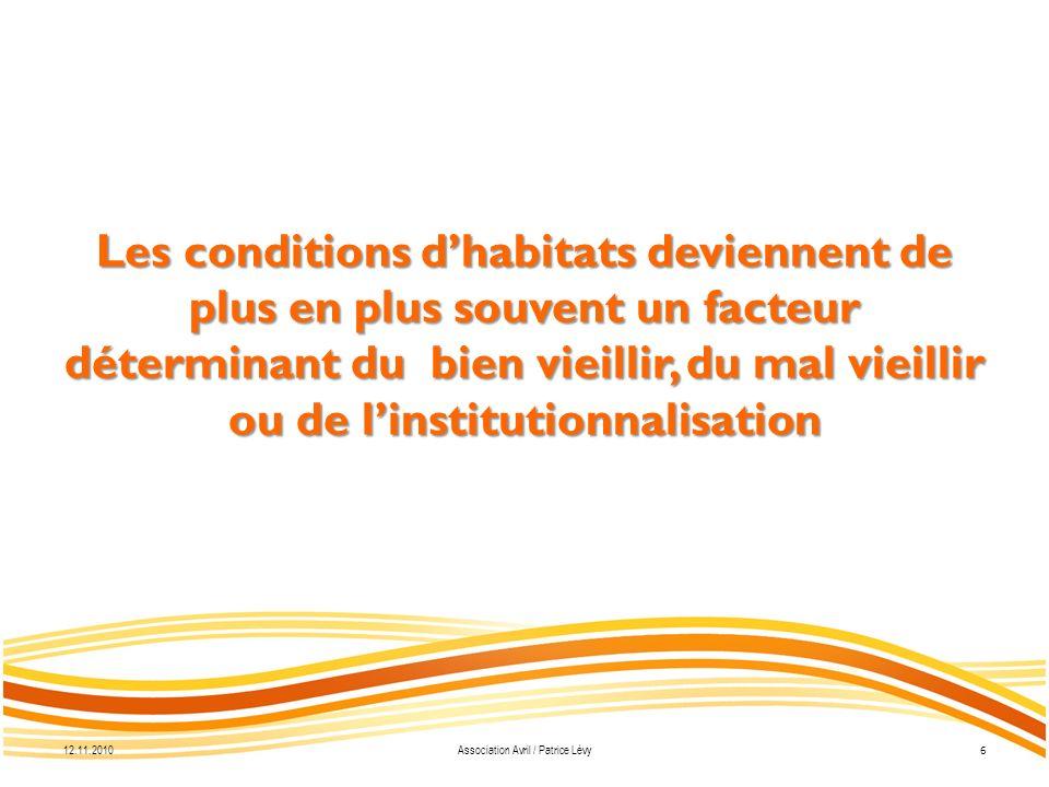 12.11.2010 7 Association Avril / Patrice Lévy o Environnement social o Larchitecture o Les prestations o Le financement