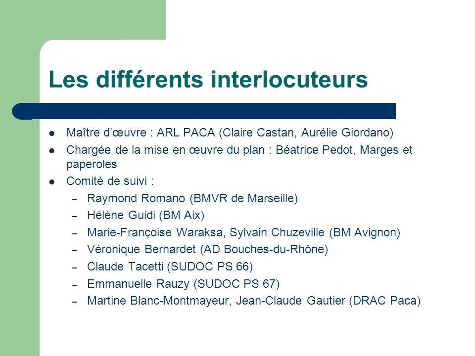 Les différents interlocuteurs Maître dœuvre : ARL PACA (Claire Castan, Aurélie Giordano) Chargée de la mise en œuvre du plan : Béatrice Pedot, Marges