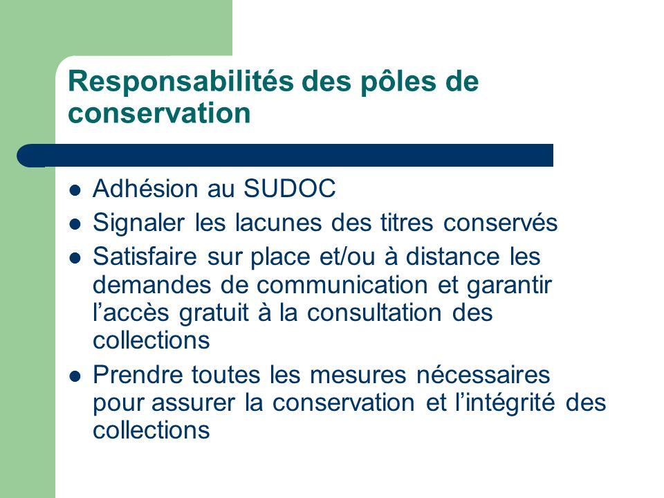 Responsabilités des pôles de conservation Adhésion au SUDOC Signaler les lacunes des titres conservés Satisfaire sur place et/ou à distance les demand