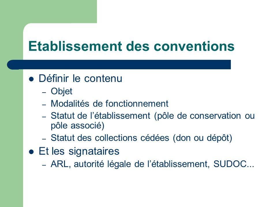 Etablissement des conventions Définir le contenu – Objet – Modalités de fonctionnement – Statut de létablissement (pôle de conservation ou pôle associ