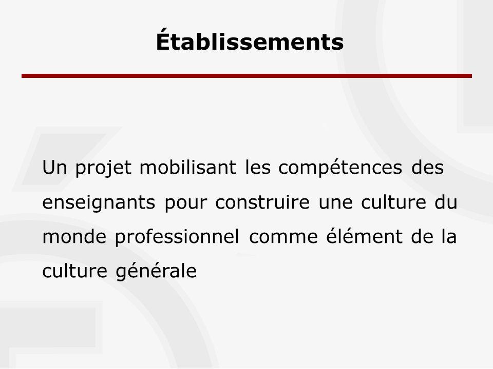 Établissements Un projet mobilisant les compétences des enseignants pour construire une culture du monde professionnel comme élément de la culture générale