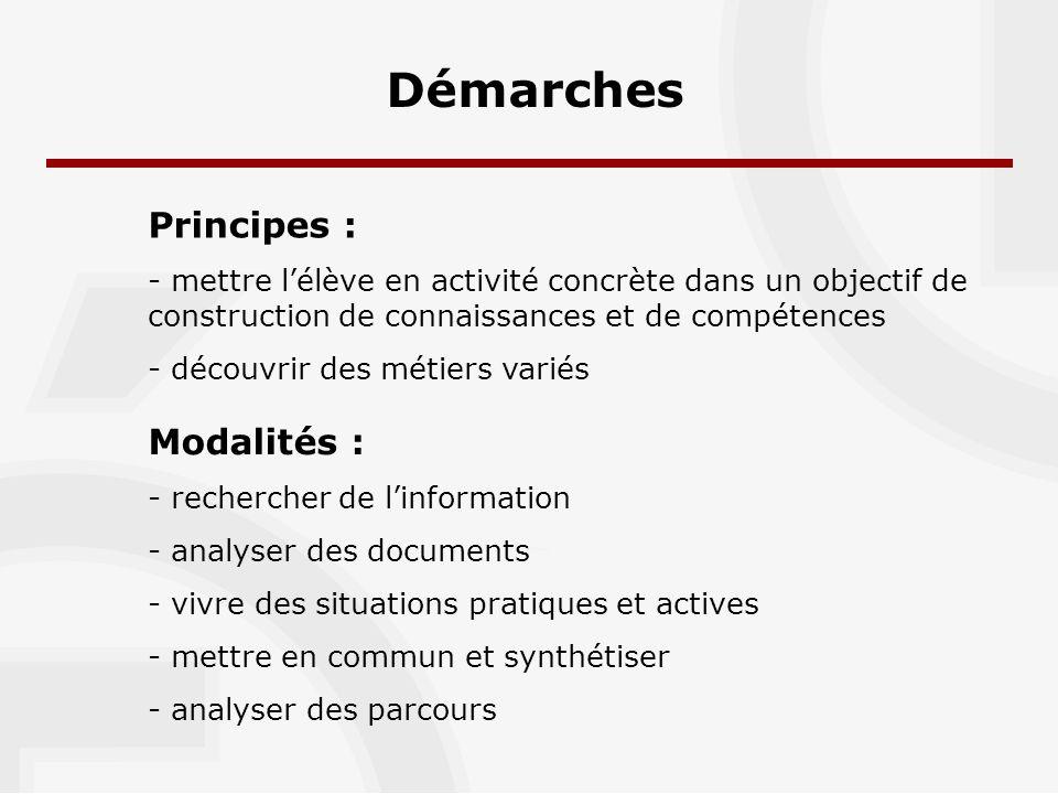 Démarches Principes : - mettre lélève en activité concrète dans un objectif de construction de connaissances et de compétences - découvrir des métiers variés Modalités : - rechercher de linformation - analyser des documents - vivre des situations pratiques et actives - mettre en commun et synthétiser - analyser des parcours