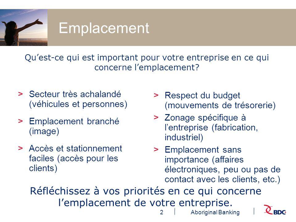 2Aboriginal Banking Emplacement >Secteur très achalandé (véhicules et personnes) >Emplacement branché (image) >Accès et stationnement faciles (accès p